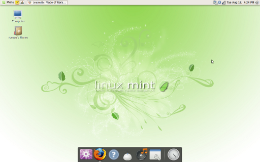 Desktop of Linux Mint 7 Gloria